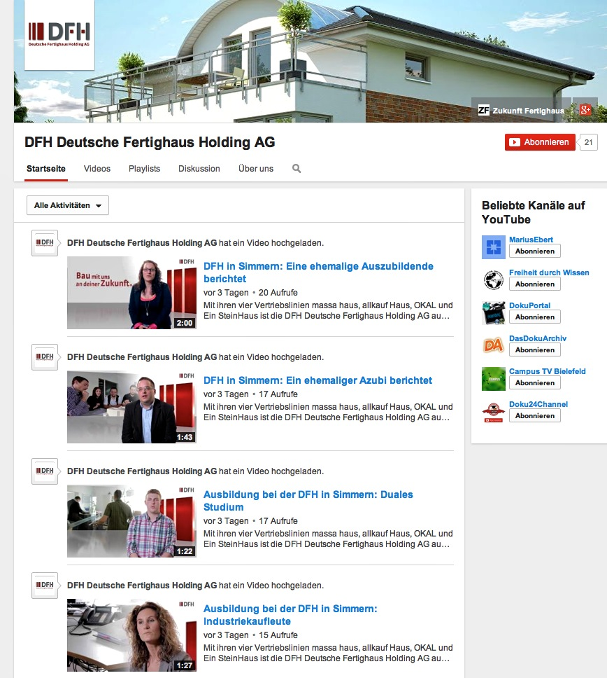 DFH YouTube Kanal   DFH Deutsche Fertighaus Holding AG